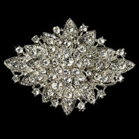 Wholesale Large Elegant Vintage Silver Sparkly Rhinestone Crystal Bridal Pin Brooch