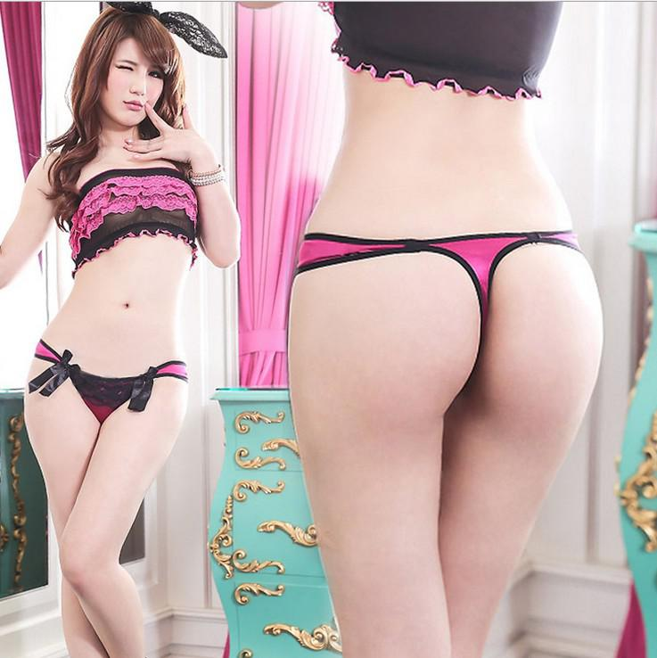Sexy Satin T-back Lingerie Sexy Briefs Underwear Underpants Floral ...