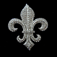 Wholesale 2 inch Vintage Silver Clear Rhinestone Fleur De Lis Brooch S