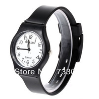 Leather Acrylic Acrylic View Original Picture6018 Round Shaped Watch Dial Plastic Cement Watchband Wrist Watch (Black)