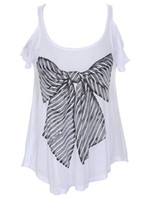 Wholesale Chic White Bow Print Jewel Neck Lycra Short Sleeves Women s T shirt corset u9 R6