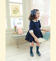 Wholesale China Korean Children Clothing Factory Classic Pure Cotton Lapel Dolls Neck Long Sleeve Baby Princess Dress Year Girls Dresses QS502