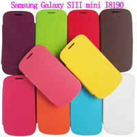 Leather For Samsung For Christmas S3 S 3 MINI Flip Leather Case with Back Battery Cover for Samsung Galaxy S3 mini i8190 with Retail Package