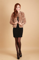 Wholesale On sale genuine rex rabbit fur short coat sleeve round neck free ship