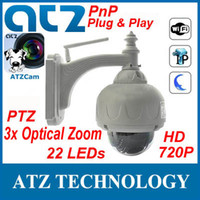Wholesale ATZ Wireless PnP Plug amp Play HD Speed PTZ IP Camera Megapixels WIFI IR Cut m way Audio x Zoom Free DDNS Android iPhone APP ATZCam