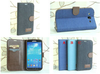 Leather For Samsung Yes Denim jean Wallet Leather Credit Card Stand with Soft tpu Case for Samsung Galaxy Mega 5.8 I9150 Mega 6.3 I9200 30pcs lot