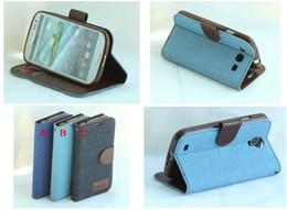 Wholesale Retail Denim jean Wallet Leather Credit Card Soft tpu Case cover for Samsung Galaxy s3 i9300 Galaxy s4 i9500 Galaxy s5 i9600 pc