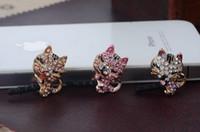 Wholesale new hot selling kpop kawaii cute diamond cat tail plug cell phone dust plug charm