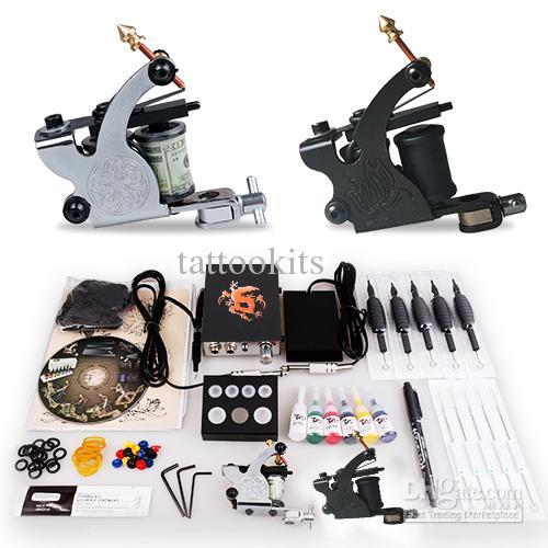 Beginner cheap tattoo starter kits 2 guns machines 6 ink for Starter tattoo kits