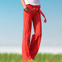 Wholesale 2013 New National Baggy Pant Linen Butterfly Knot With Belt Two Button Solid Color Loose Pants Q094 Colors