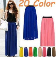 20Colors High Quality Chiffon pleated Skirt Vintage Long Can...