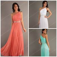 Reference Images One-Shoulder Chiffon Coral One-Shoulder Cheap Prom Dresses Chiffon Ruched Bodice Floor Length Long White Aqua 2014 Shiny Crystals Beaded Sequins Evening Gowns
