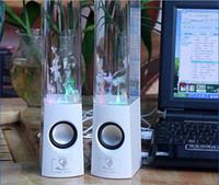 al por mayor agua altavoces-envío gratuito de música del Agua de la fuente de Altavoz Altavoz Mini de colores de Agua colocar una Lámpara LED de Bailar un par de USB para el teléfono de la computadora portátil de mp3 de 4