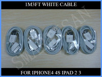 Wholesale 1M ft pin USB Charging Sync Date White Cable for iPhone4 S G GS Ipad2 Touch up