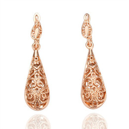 Wholesale 8KGP E016 Freeshipping Copper With 18K Rose Gold Plated Drop Earrings Fashion Jewelry Nickel Free Lots200