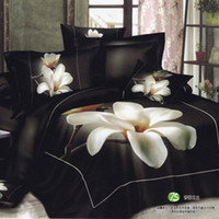 Wholesale black and white Flower bed sheets d cotton Queen king Full size oil painting bedding set luxury duvet comforter quilt cover Linen