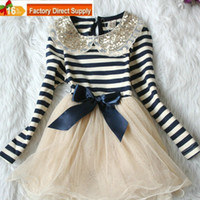 Wholesale Girls dress NEW sequins lace collar stripe bow long sleeve dress girls skirt princess dress