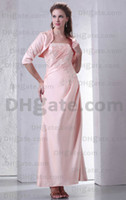 Taffeta Strapless 3/4 Long Sleeve Cheap Photos!!2013 Sexy Pink 3 4Long Sleeves With Jacket Beads Evening Dresses Mother Of The Bride Dresses