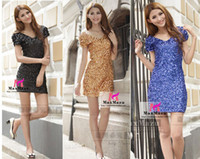 Wholesale Sexy Ladies Evening Cocktail Party V Neck Bling Sequin Dance Club Dress Plus S M