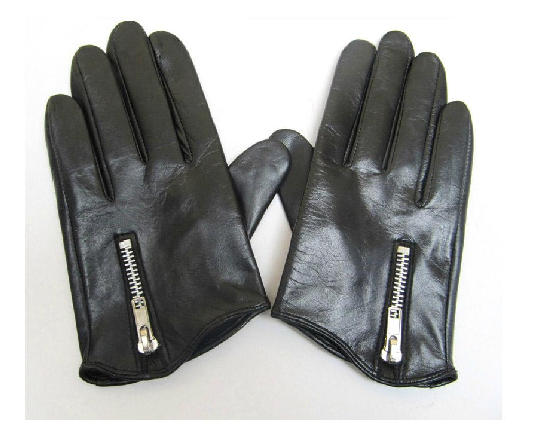 Long black leather gloves prices - Man S Short Side Zipper Top Quality Goat Leather Black Motor Everyday Gloves