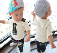 baby grid - High Quality Pure Cotton Year Baby Clothing Set Grid Fase Tie Long Sleeve T Shirt Harem Pnats Boys Suit Kid s Set Child Clothes