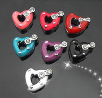 Wholesale hot selling mm rhinestone heart zinc alloy slide charm jewelry findings