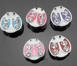 Wholesale high quality mm ladybug zinc alloy slide charm fit for mm diy pet dog cat collar