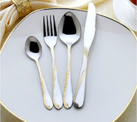 Metal ECO Friendly Eco-Friendly 24k Golden Plated Regal Aristrocrat Knife Spoon Fork Dinnerware Sets Eco Tableware FF817