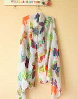 Wholesale HOT new lady lovey cheap butterfly voile scarves warm wild flower garden floral scarf shawl woman color