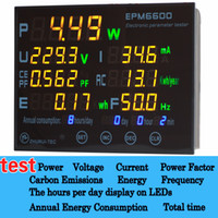Wholesale EPM6600 electric meter ammeter led tester for led lamp appliances with Big color digital tube V I P PF CE F Energy