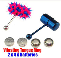 Cheap 2 VIBRATING TONGUE BAR STUD RING +8 FREE BATTERIES BODY PIERCING JEWELRY 04+06