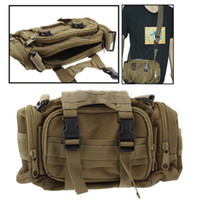 Wholesale Utility Nylon Waterproof Molle Tactical Way Carrying Waist Shoulder Hand Camera Pouch Bag with Detachable Strap Yellowish Brown