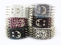 Wholesale New quot Wide Row Spiked Dog Leather Collars Pit bull Dog Terrier Collar P49