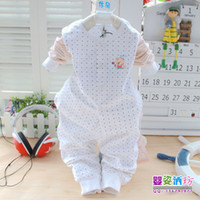 Unisex Spring / Autumn Long 100% Cotton Print Baby infant clothes Open Chest Underwear Suits 2pc with 2 Color Children clothing sets 6sets lot by freeship