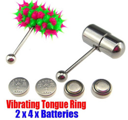 Wholesale 2 VIBRATING TONGUE BAR STUD RING FREE BATTERIES BODY PIERCING JEWELRY