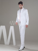 Polyester Standard Regular Special White Single Breasted Button Worsted Groom Tuxedos Groom Wear Wedding Suit Blazer Jacket (jacket+pants+vest+bow) Custom made