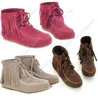 Wholesale fashion Women s Tassels Lace UP Flat Ankle Shoes Boots Girls Sizes