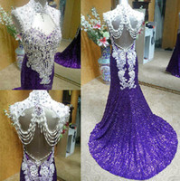 2013 Newest Design ! Luxury Cheap Sequins High Neck Backless...