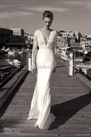 New Arrivals Sexy Deep V Neck Mermaid Wedding Dresses Lace L...