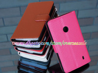 Wholesale For Nokia Lumia n530 n520 n630 X2 X X XL Litche Litchi skin Leather cover Wallet Credit card case stand Holder cases