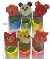 Wholesale cartoon animal flower pot Wooden colorful card holder photo clip name note memo stand office supply home decoration desk
