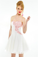 Chiffon affordable homecoming dress - Affordable Hot Sweet A line White Sweetheart Strapless Short Mini Chiffon Appliques Backless Homecoming Cocktail Dress