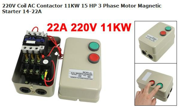 220v coil ac contactor 11kw 15 hp 3 phase motor magnetic for 15 hp 3 phase motor