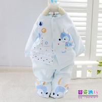 Unisex Spring / Autumn Long Spring Autumn Cartoon Print Baby clothes Undewear sets 2pcs Open Chest 3 color 100% Cotton Material Children Clothing 6sets lot