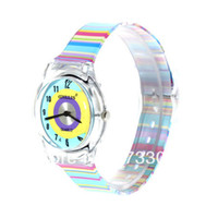 Unisex Auto Date Analog Good!View Original Picture6018 Round Shaped Blue Watch Dial Colorful Rainbow Plastic Cement Watchband Women's and Kid's Wrist Watch