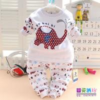 Unisex Spring / Autumn Long Spring Autumn Elephant Print Baby clothes Undewear sets 2pcs Open Chest 3 color 100% Cotton Material Children Clothing 6sets lot
