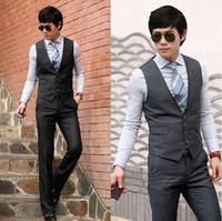 uyuk - High Quality UYUK The British Temperament Vests Men s Casual Vests Hit the Color Collar Vests