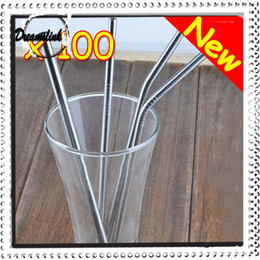 Wholesale Durable Stainless Steel Drinking Straw Straws Metal for Bar Family-kitchen two type of straight and excurved