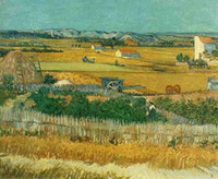 Wholesale 100 handpainted Oil paintings on cavas Van Gogh Classic Harvest at La Crau