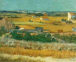 Wholesale 100 handpainted Oil paintings on cavas Van Gogh Classic Harvest at La Crau